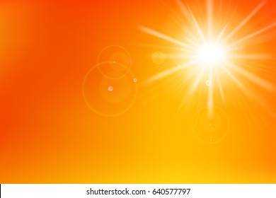 Abstract yellow and orange background with sunlight and flare element for summer vector illustration eps10