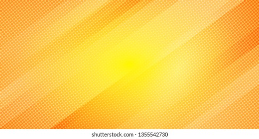 Abstract yellow and orange gradient color oblique lines stripes background and dots texture halftone style. Geometric minimal pattern modern sleek texture. Vector illustration
