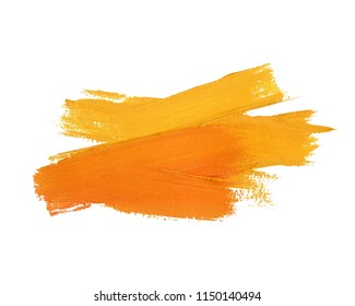 Abstract yellow orange hand painted textured ink brush background. Isolated strokes with dry rough edges.