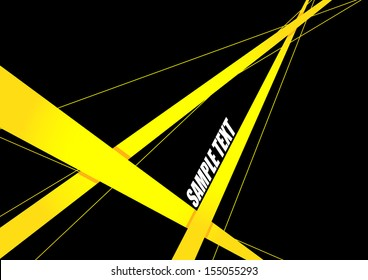 Abstract yellow Ribbon on black background