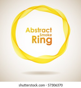 Abstract yellow smoke ring design element.