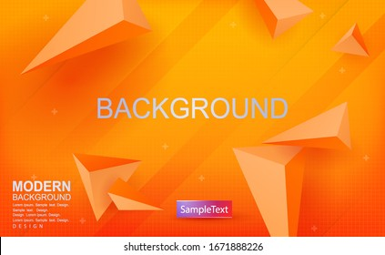 Abstract yellow texture background, triangles with 3D effect, stripes located obliquely.