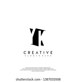 abstract YK logo letter in shadow shape design concept