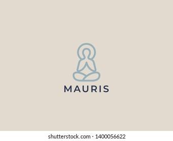 Abstract Yoga Logo. Modern linear vector icon. Fitness room, Yoga center, spa facilities, lotus flower, health, spa, meditation, harmony sumbol. Man in lotus pose icon.