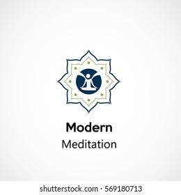 abstract yoga mandala business logo template