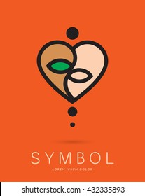 ABSTRACT YOGA SILHOUETTE , INCORPORATED WITH A HEART SHAPING A YIN YANG SYMBOL , VECTOR ICON / LOGO IN NATURAL COLORS
