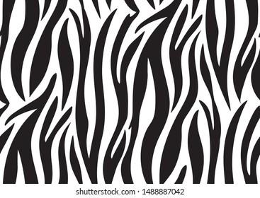 Abstract zebra seamless pattern. Optical illusion geometric pattern. Black and white animal skin pattern. Trendy stylish vector wallpaper.