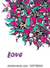 Abstract zen art flower card template