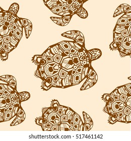 Abstract zentangle graphic turtle. Seamless pattern. Hand drawn style vector illustration. Good for ethnic and tribal design projects. Maori style turtle