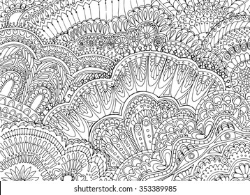 Abstract zentangle  pattern background,  doodle vector design