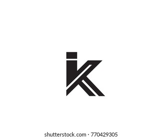 a abstract,creative and unique  alphabet letters IK and KI logo