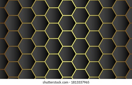 Abstract.honeycomb black Background,gold overlap background, gold light and shadow. Vector.