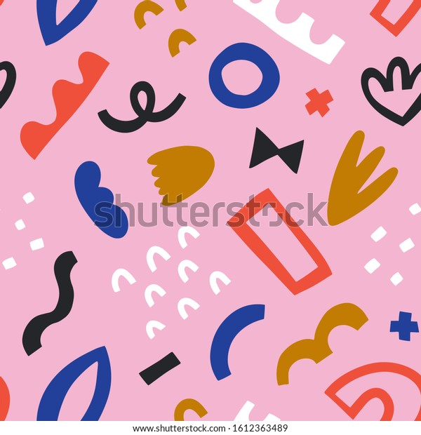 Abstraction backdrop made of trendy scribble shapes and doodles. Contemporary vector background, seamless vector pattern, simple modern hand drawn illustrations, good as textile print or wallpaper.