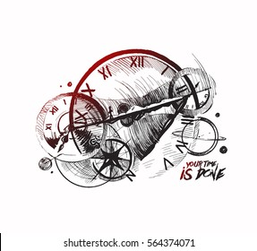Abstraction of a clockwork, a time machine, Hand Drawn Sketch Vector Background.