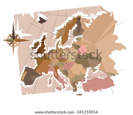 Abstraction Europe Capitals Map Europe Made Stock Vector (Royalty ...