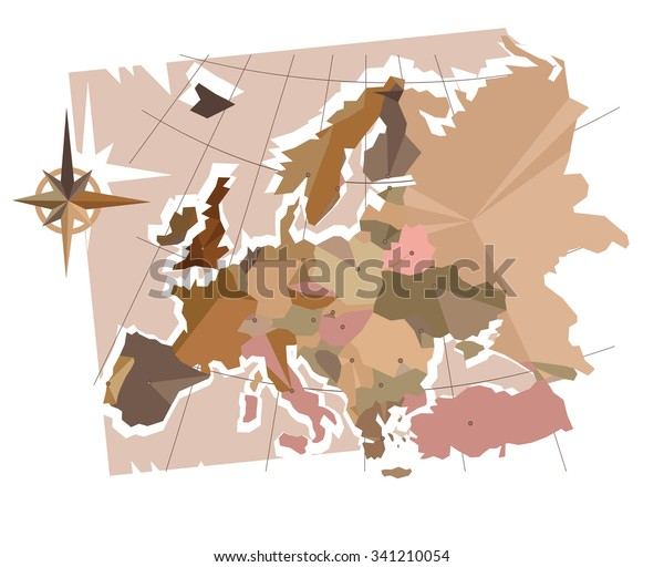 Abstraction Europe Capitals Map Europe Made Stock Vector ...