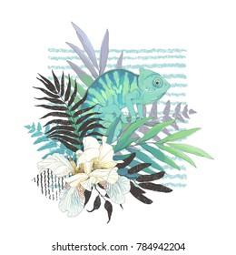 Abstraction floral decoration with chameleon, flower Fleur de lis and tropical leaves. Vector nature illustration.