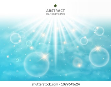 Abstraction of full effect sunburst in summer vacation on soft light blue sky background with clouds and aura. Presenting with space of texting. Illustration vector eps10