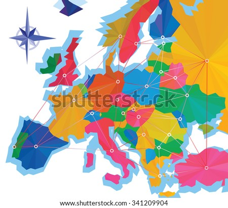 Abstraction Infographics Europe Capitals Europe Map Stock Vector ...