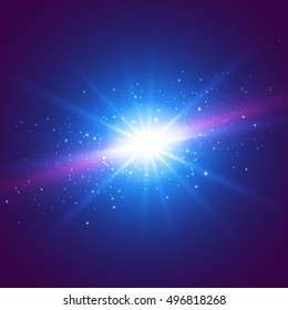Abstraction Light with Lens Flare. vector background. Vector illustration.