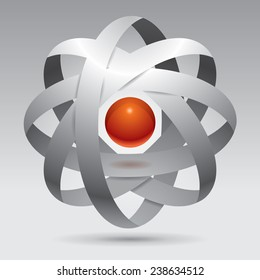 Abstraction object, unreal shape, design sample, 3d form, vector element, molecule, red sphere