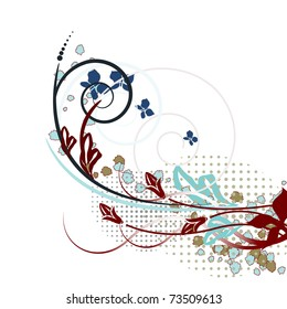 Abstraction of ornamental flowers and leaves. Modern creative background.