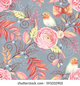 9567dbbd806a Abstraction seamless pattern with bird Robin