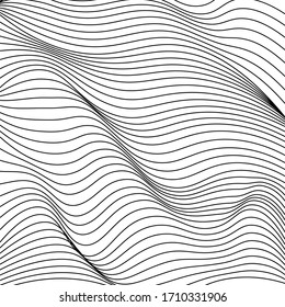 Abstraction. The waves. Black lines on a white background.