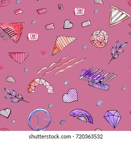Abstrakt vector seamless pattern hand drawn watercolor elements red pink