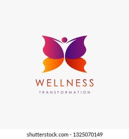 Abstrat human butterfly transformation, wellness logo inspiration