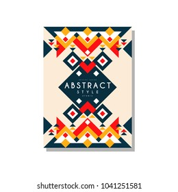 Abstrat style ethnic card temlate, colorful ethno tribal geometric ornament, trendy pattern element for business, logo, invitation, flyer, poster, banner vector Illustration