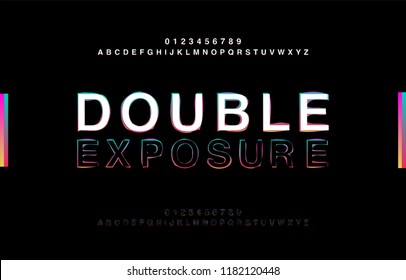 Abstrct Alphabet Double Exposure Glitch Modern Style. Typography Colorful Type for Logo, Creative, Banner or Heading Black Bold Font