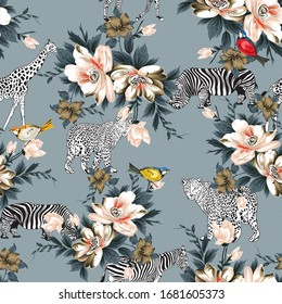 abstrct flower and brid pattern on background