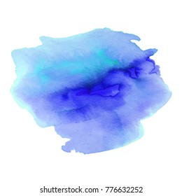 Abstrct watercolor spot with droplets, smudges, stains, splashes. Bright aquamarine blue color blot in grunge style. To design and decor backgrounds, banners, flyers.