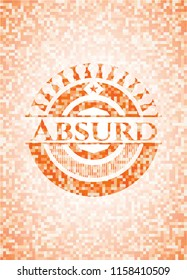 Absurd abstract orange mosaic emblem with background