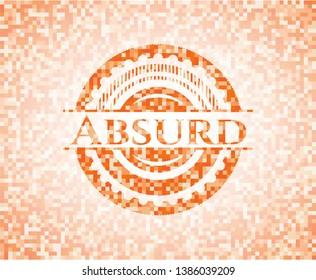 Absurd abstract orange mosaic emblem