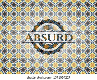 Absurd arabic badge. Arabesque decoration.