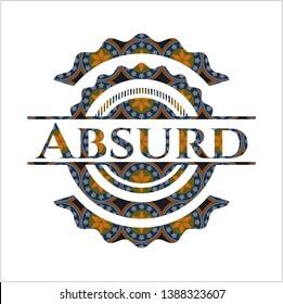 Absurd arabic badge background. Arabesque decoration.