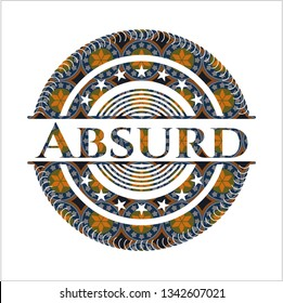 Absurd arabic style badge. Arabesque decoration.