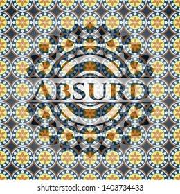 Absurd arabic style emblem. Arabesque decoration.