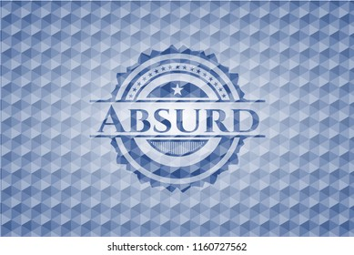 Absurd blue badge with geometric pattern background.