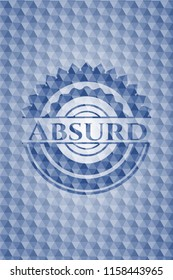 Absurd blue emblem or badge with abstract geometric pattern background.