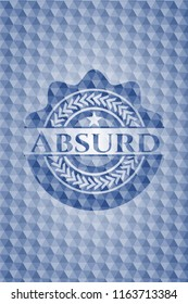 Absurd blue emblem with geometric pattern background.