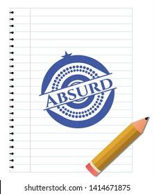 Absurd blue ink pen emblem. Vector Illustration. Detailed.