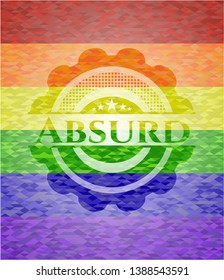 Absurd emblem on mosaic background with the colors of the LGBT flag