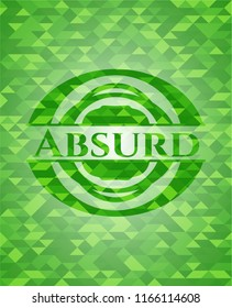 Absurd green emblem. Mosaic background