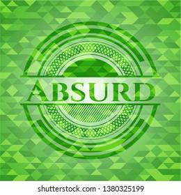 Absurd green emblem. Mosaic background