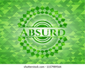 Absurd green emblem with triangle mosaic background