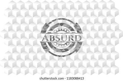 Absurd grey emblem with geometric cube white background