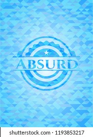Absurd realistic light blue emblem. Mosaic background